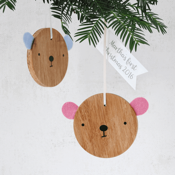 First Christmas Personalised Wooden Bear Decoration - Clara and Macy