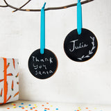 Wooden Blackboard Round Bauble Decoration - Clara and Macy