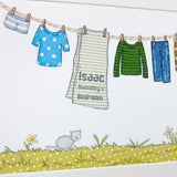 Personalised Little Boy's Washing Line Print - Clara and Macy