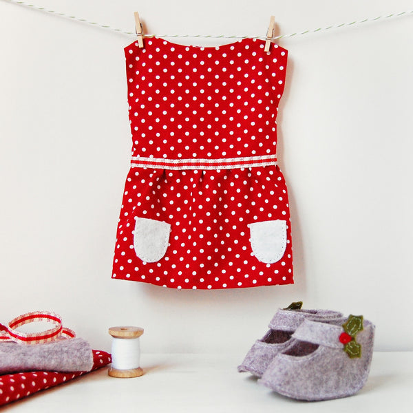 Make Your Own Festive Doll Dress Craft Kit - Clara and Macy