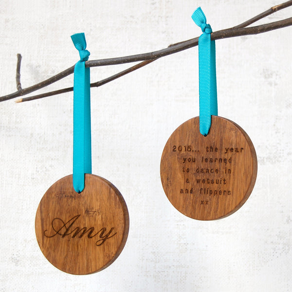 Personalised Memories Wooden Christmas Bauble - Clara and Macy