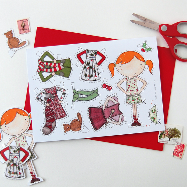 Paper Doll Christmas Card - Clara and Macy