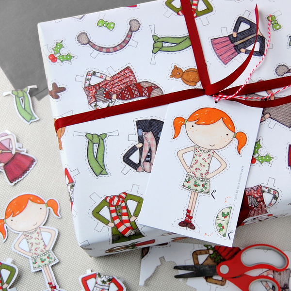 Christmas Paper Doll Wrapping Paper Set - Clara and Macy