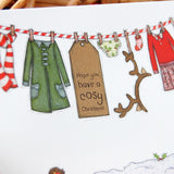 Little Girl's Washing Line Christmas Cards