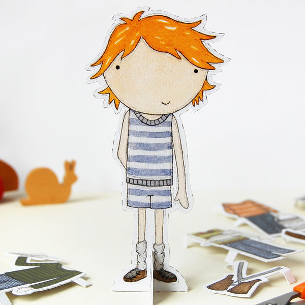 Dress Up Colin Paper Doll - Clara and Macy