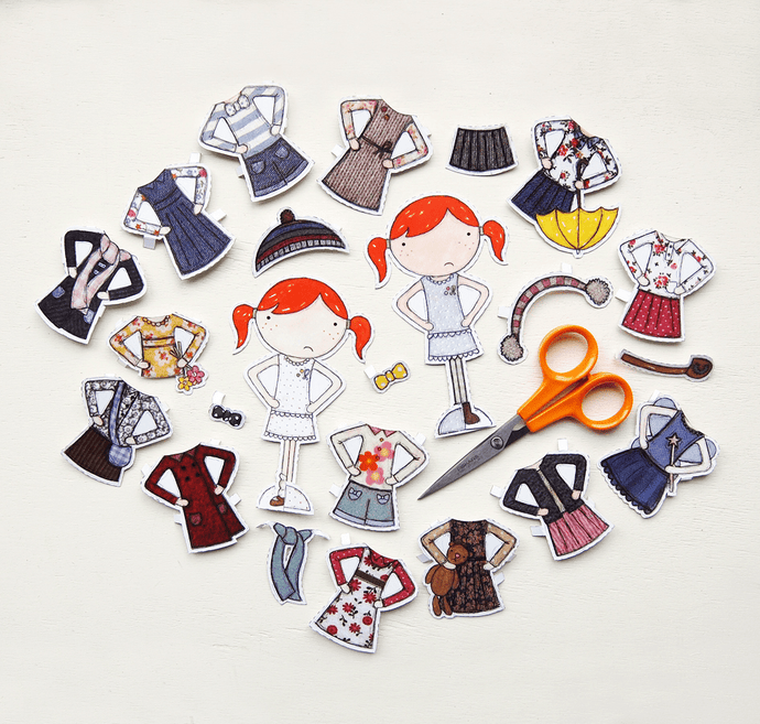 Dress Up Clara Paper Doll Deluxe Set - Clara and Macy