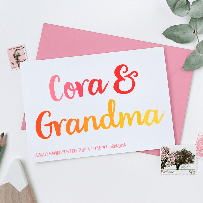 Personalised Grandma And Me Card - Clara and Macy