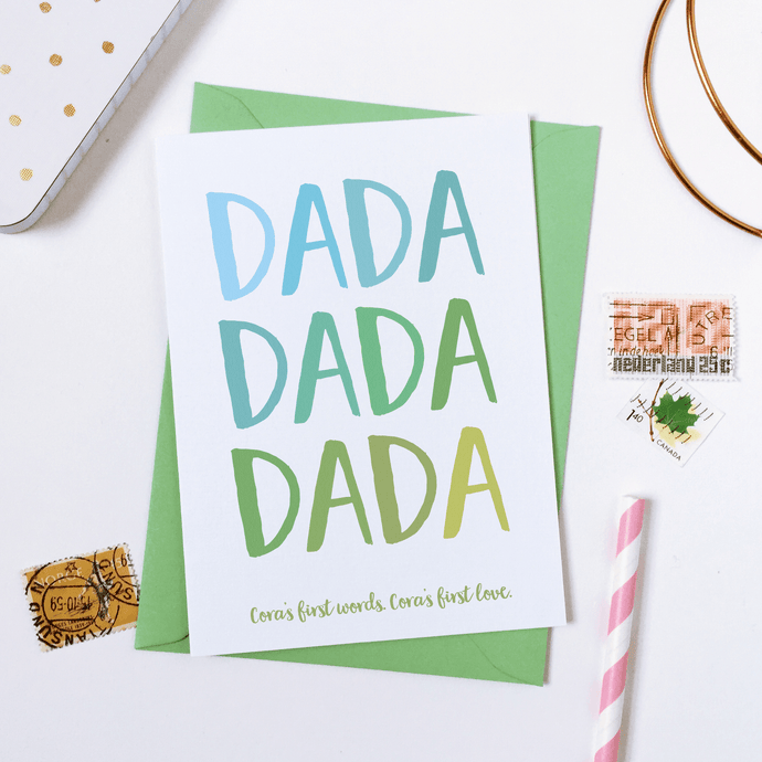 Personalised First Words Father's Day Card - Clara and Macy