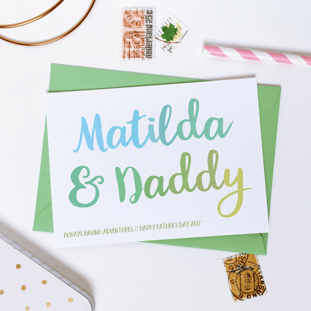 Personalised Daddy And Me Father's Day Card - Clara and Macy