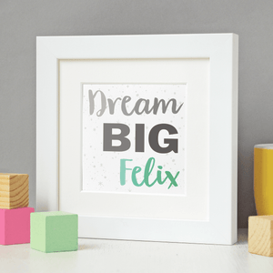 New Baby Personalised Dream Big Framed Print