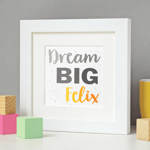 New Baby Personalised Dream Big Framed Print - Clara and Macy