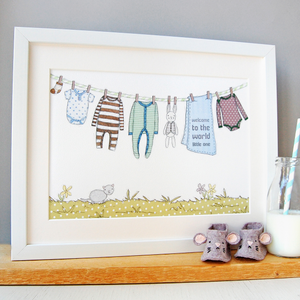 Personalised Welcome To The World New Baby Print / Greens And Blues