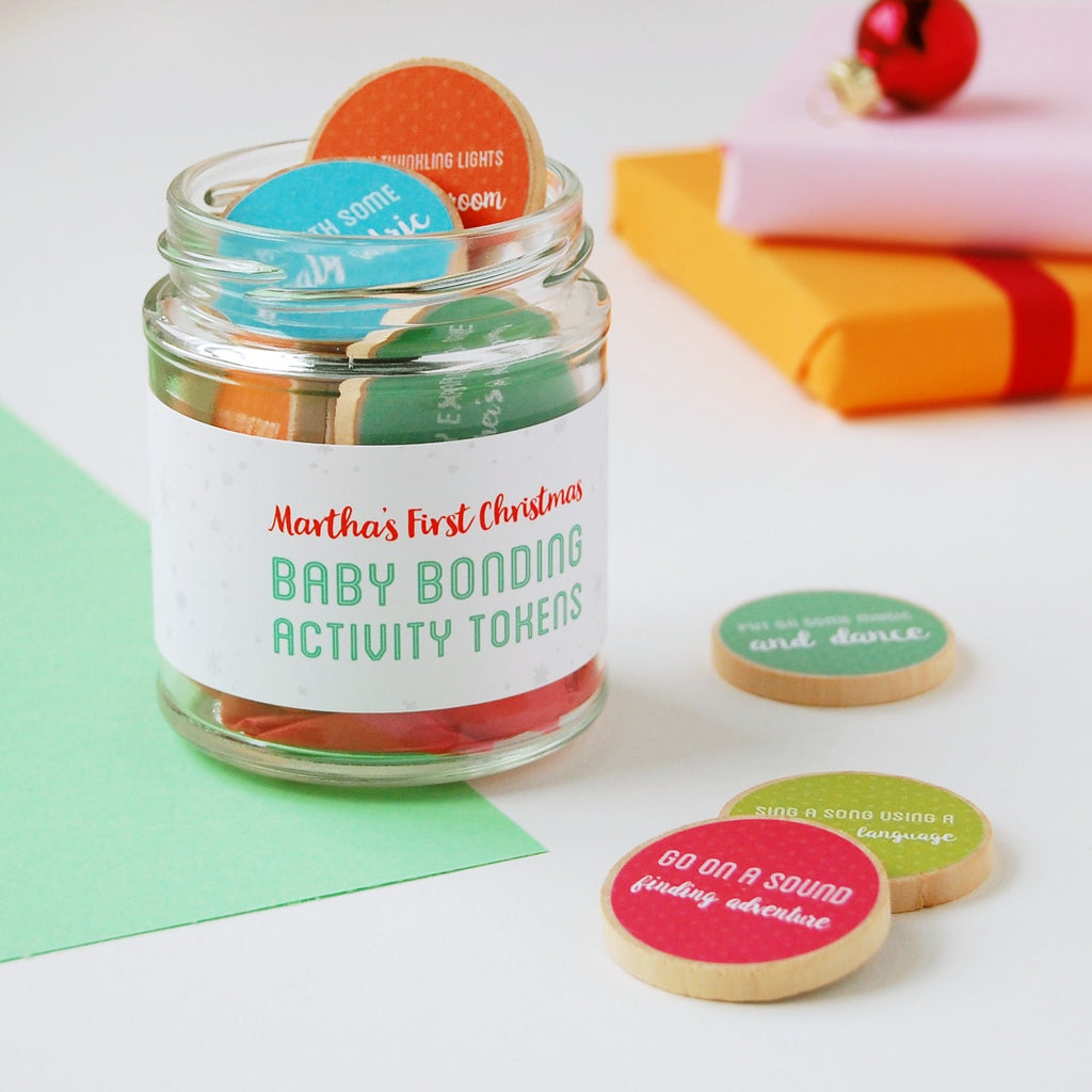 Personalised First Christmas Baby Bonding Tokens Jar - Clara and Macy