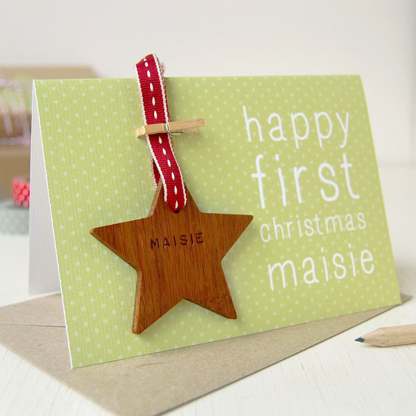 Personalised First Christmas Keepsake Card - Clara and Macy
