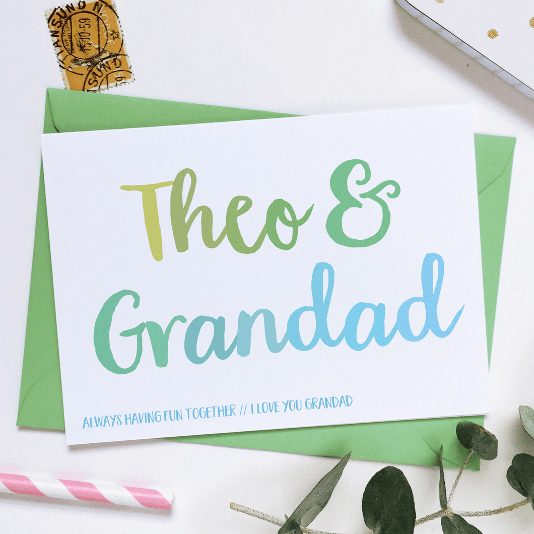 Personalised Grandad And Me Card - Clara and Macy