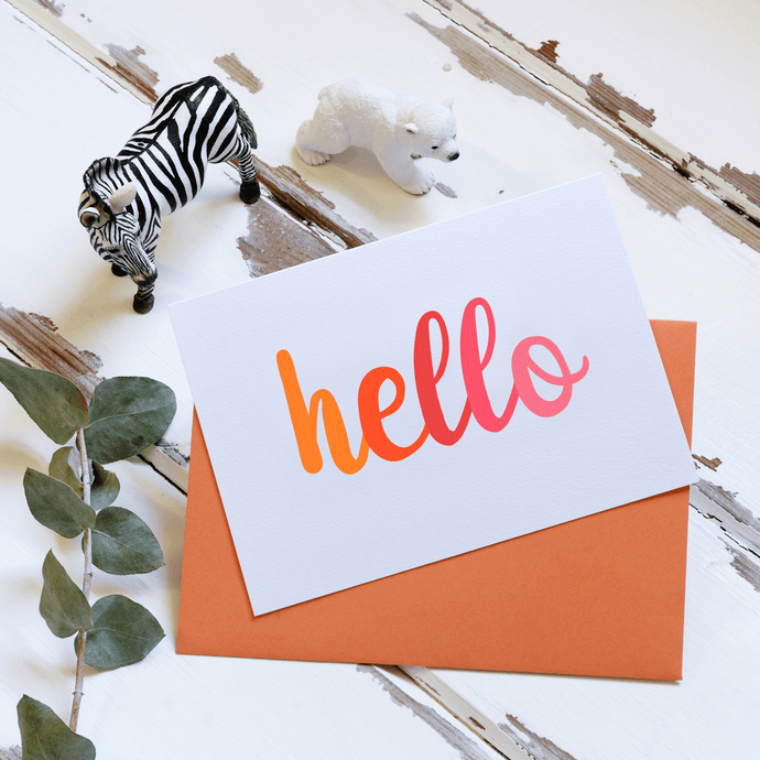 Hello Notecards Orange - Clara and Macy