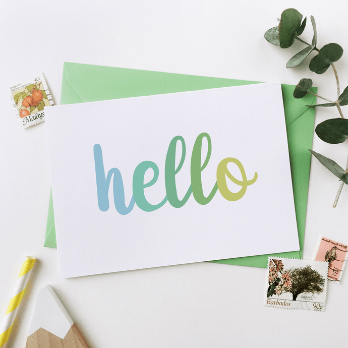 Hello Notecards Green - Clara and Macy
