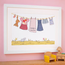 Personalised Children's Washing Line Print / Pinks And Yellows - Clara and Macy