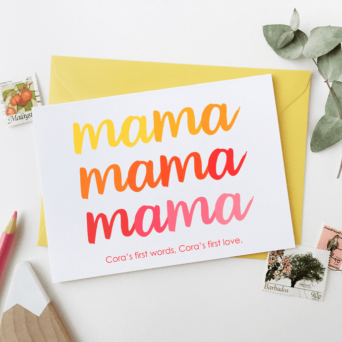 Personalised First Words Mother's Day Card - Clara and Macy