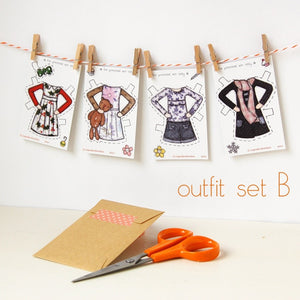 Clara Paper Doll Signature Outfits - Clara and Macy
