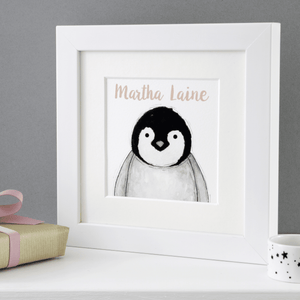 Baby Penguin Personalised Framed Print - Clara and Macy