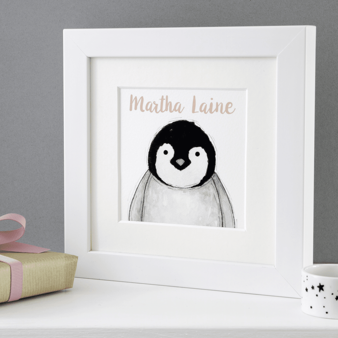 Baby Penguin Personalised Framed Print