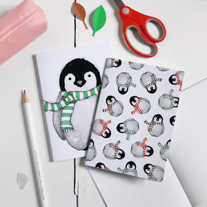 Baby Penguin Pattern Notebook - Clara and Macy