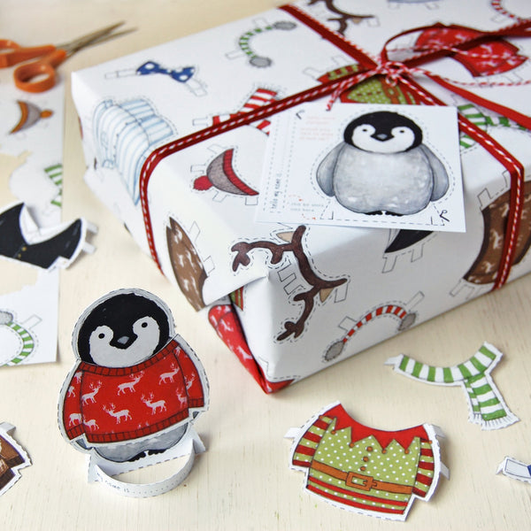Dress Up A Penguin Interactive Wrapping Paper - Clara and Macy