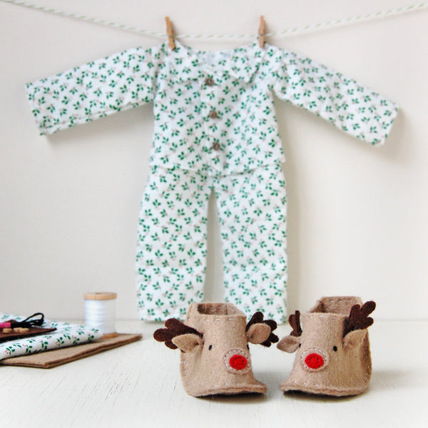 Make Your Own Christmas Doll Pyjamas Craft Kit - Clara and Macy