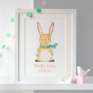 Personalised New Baby Rabbit Illustration Print - Clara and Macy