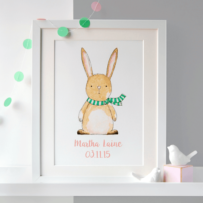 Personalised New Baby Rabbit Illustration Print