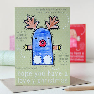 Reindeer Finger Puppet Christmas Card - Clara and Macy