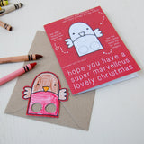 Robin Finger Puppet Christmas Card - Clara and Macy