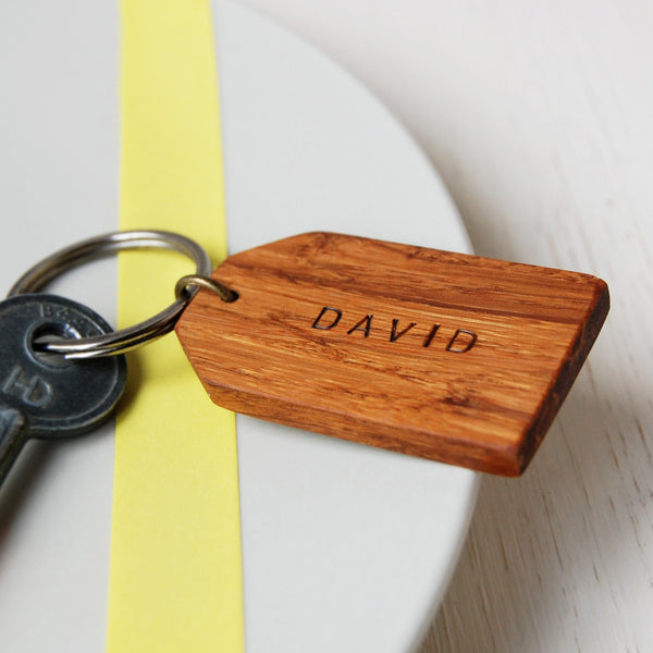 Personalised Wooden Luggage Tag Keyring - Clara and Macy