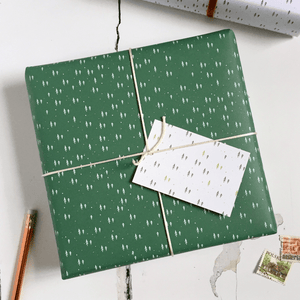 Tiny Trees Green Wrapping Paper Set