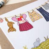 Little Girl's Washing Line Card - Clara and Macy