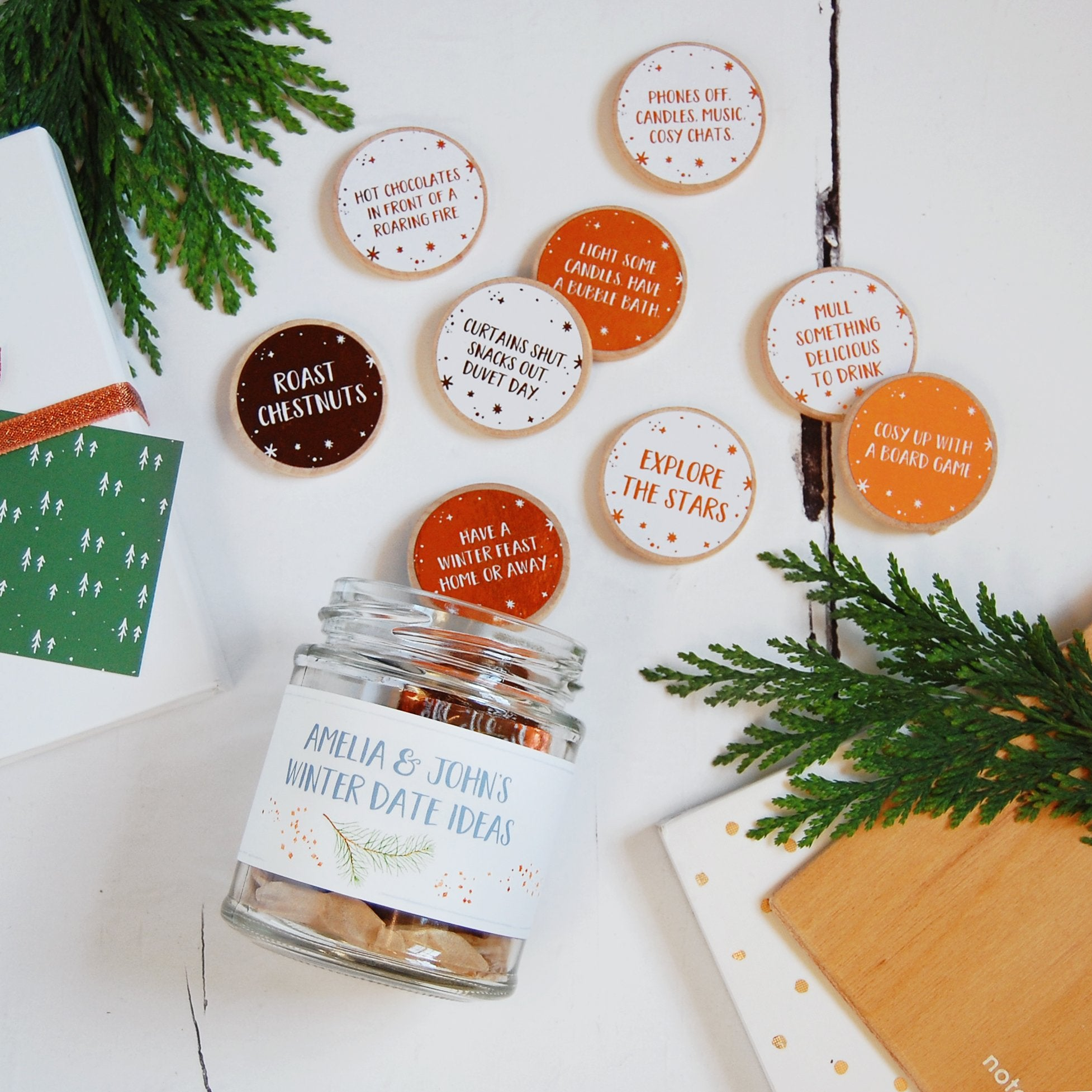 Personalised Couple\'s Winter Date Ideas Jar – Clara and Macy