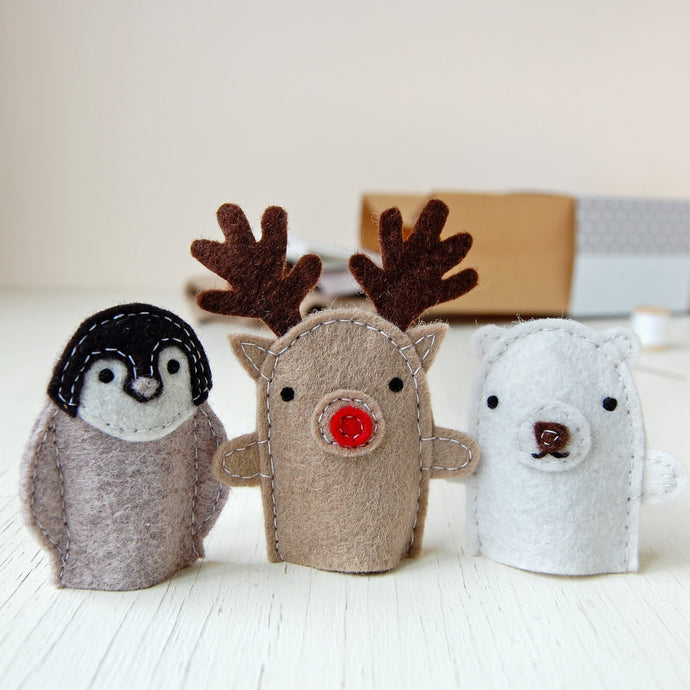 Make Your Own Winter Finger Puppets Craft Kit - Clara and Macy