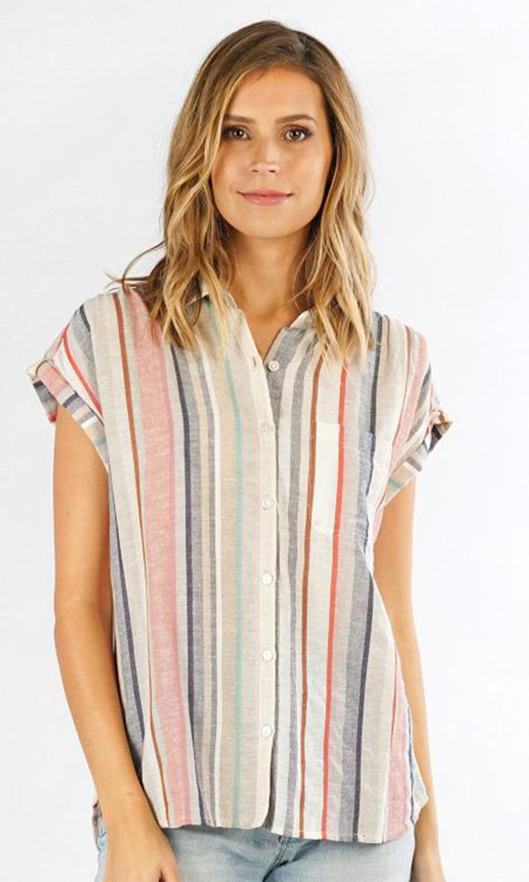 Button Front Striped Top