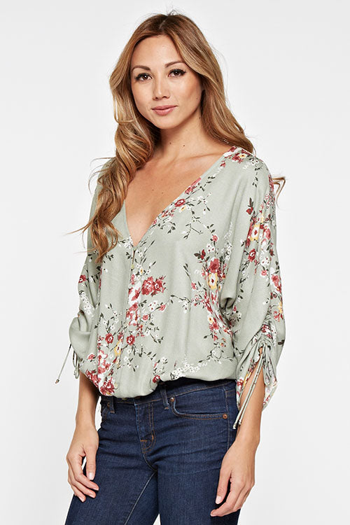 Floral Print Scrunch Sleeve