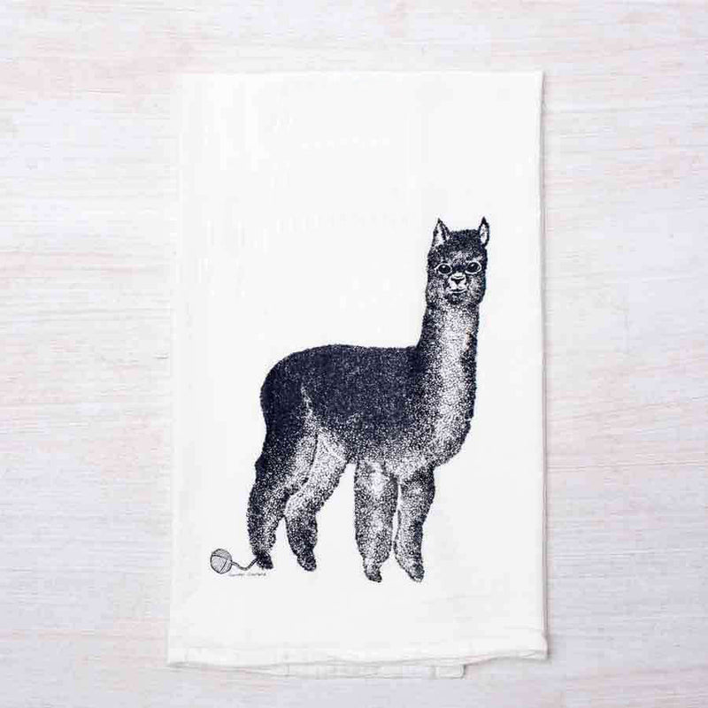 flour sack tea towel with alpaca print