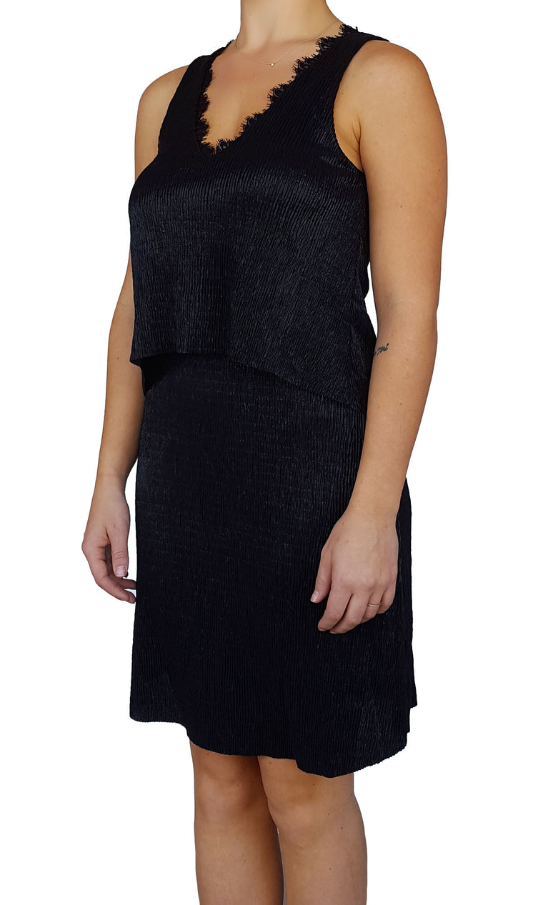 Pleated Lurex Dress - Black