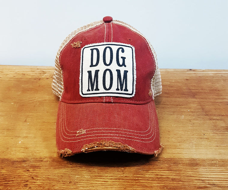 Comfy Trucker Hat - Dog Mom - Card. Red