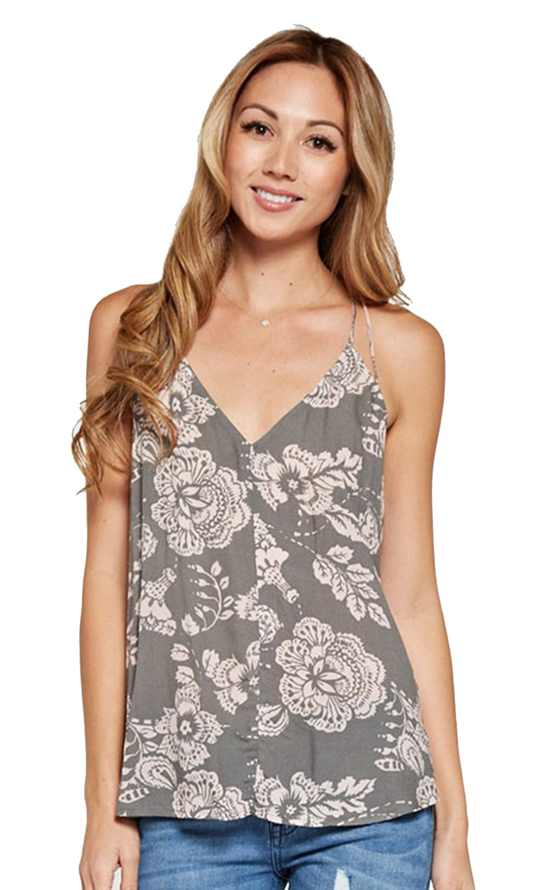 Printed Floral Tank - Charcoal/Rose