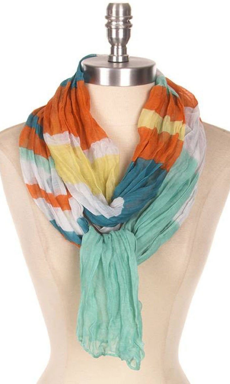 Striped Crinkle Scarf