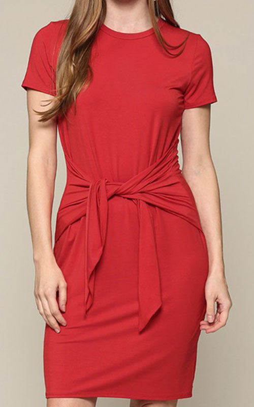 Tie Front T-Shirt Dress - Tangerine