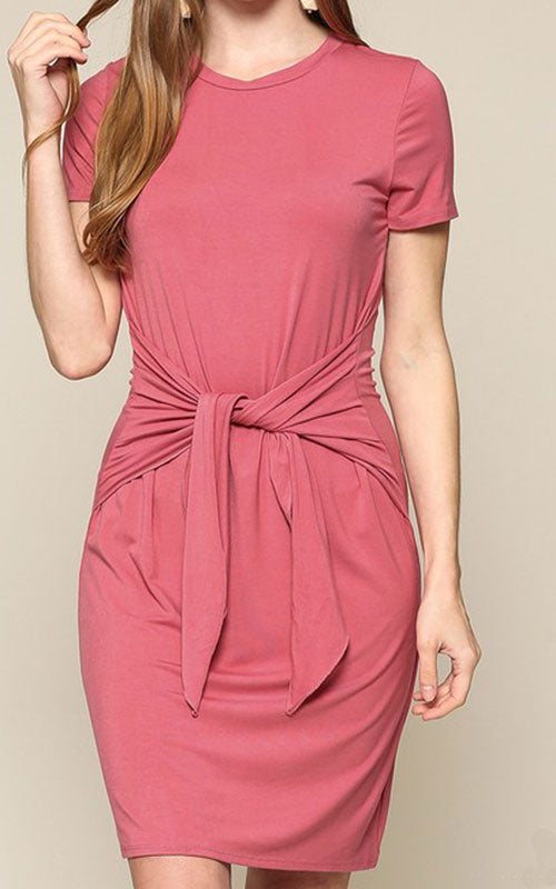 Tie Front T-Shirt Dress - Rose