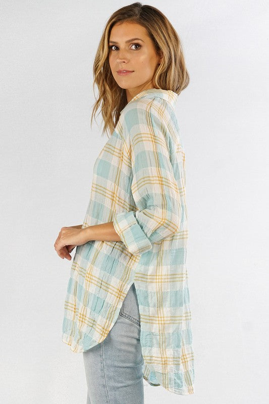 Yarn Dye Plaid Button Down Top - Aqua