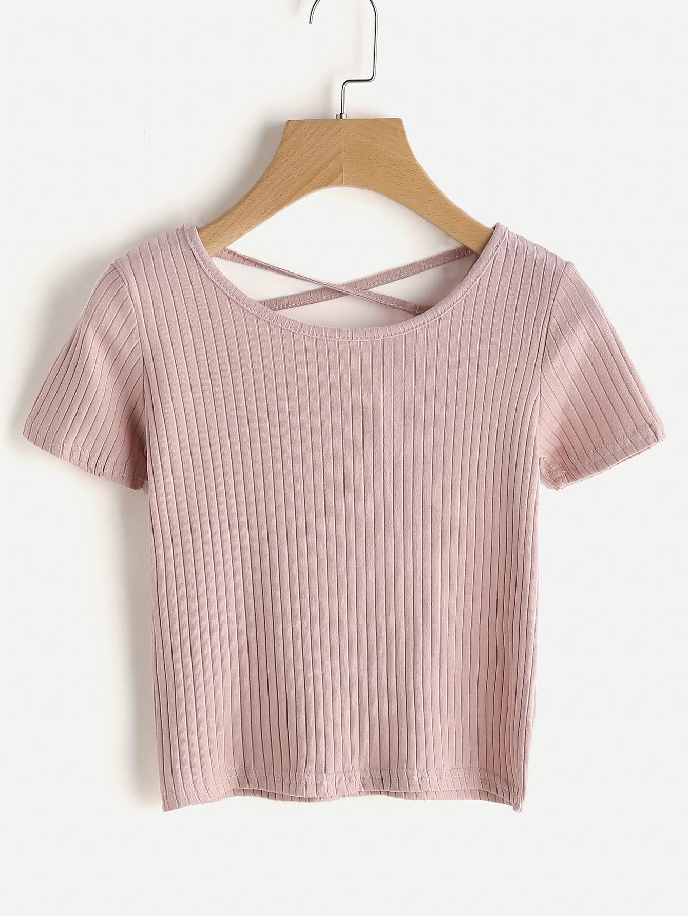 Criss Cross Back Ribbed Tee