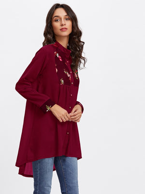 Floral Embroidered Dip Hem Long Shirt